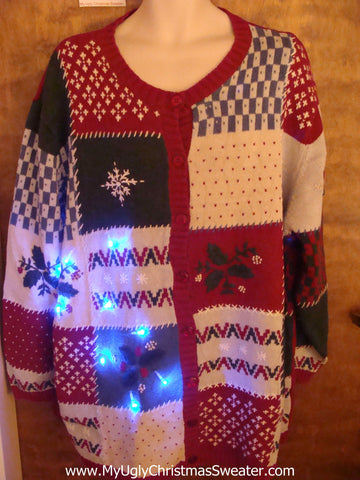Big Size Patchwork Festive Cute Christmas Sweater with Lights