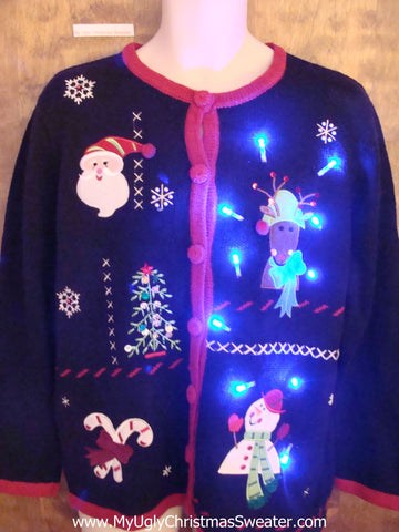 Funny Strange Reindeer Cute Christmas Sweater with Lights
