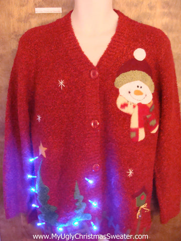Lit Up Forest Tacky Xmas Sweater with Lights