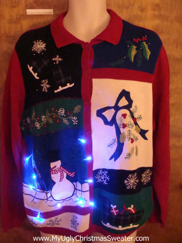 Light Up Uber Tacky Xmas Sweater with Snowman