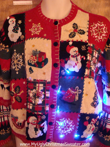 Cheesy Patchwork Mess Cute Christmas Sweater with Lights