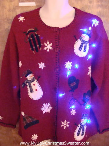 Floating Snowmen with Sled Cute Christmas Sweater with Lights