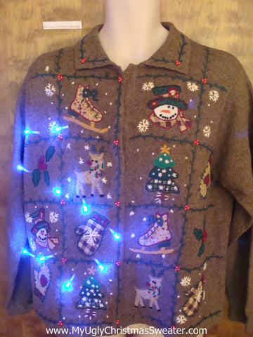 Brown Ugliest Corny Cute Christmas Sweater with Lights