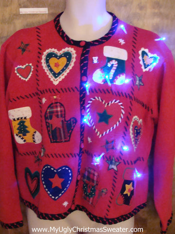 You'll Heart this Sweater Light Up Tacky Xmas Jumper