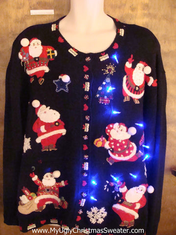 Big Size Busy Santas Cute Christmas Sweater with Lights