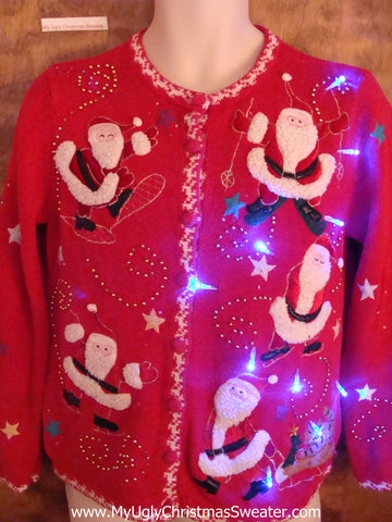 Santas and a Tiny Cat Cute Christmas Sweater with Lights