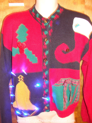 Bright Bell and Stocking Cute Christmas Sweater with Lights