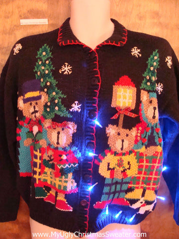 Teddy Bear Party Festive Cute Christmas Sweater with Lights