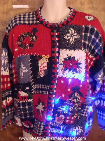 Cute Christmas Sweater 2sided 80s Mess with Lights