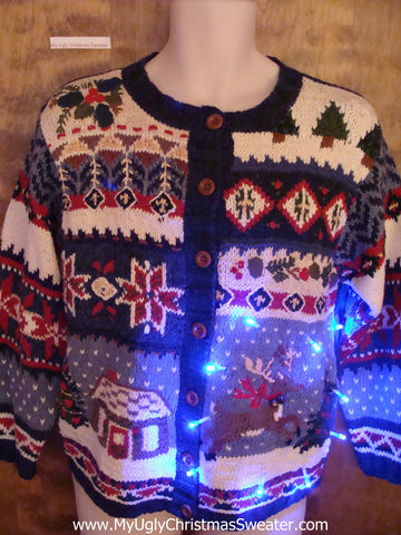 Cute Christmas Reindeer Sweater with Lights