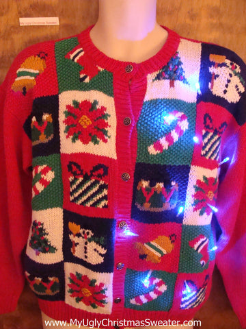 80s Cute Christmas Sweater with Candy Canes and Lights