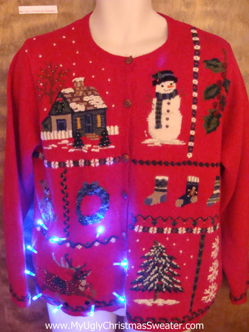 Red Cute Christmas Reindeer Sweater with Lights