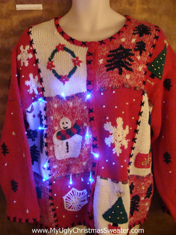 Cheaper Priced Red Cute Christmas Sweater with Lights