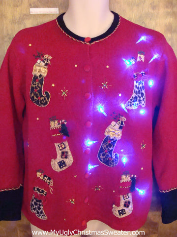 Cute Christmas Sweater with Lights with Crazy Stockings