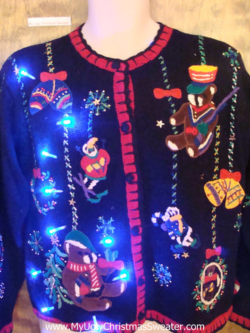 Teddy Bear Party 80s Cute Christmas Sweater with Lights