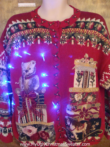 Geometric Mess with Bear Cute Christmas Sweater with Lights