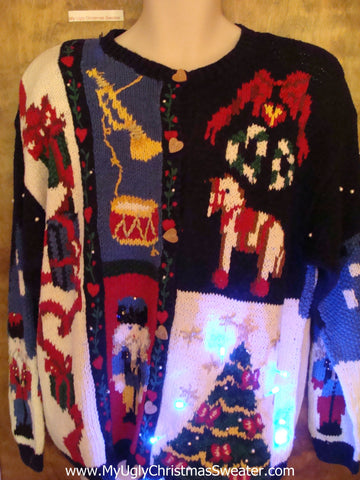 Ballerina and Nutcracker Cute Christmas Sweater with Lights