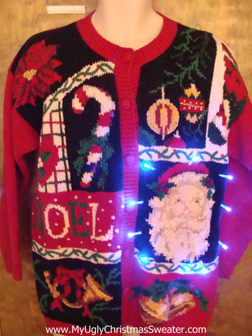 Santa and Candy Canes Cute Christmas Sweater with Lights