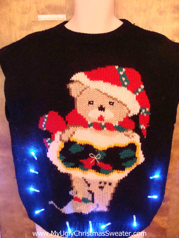 BEST Funny Bear 80s Cute Christmas Sweater Vest with Lights