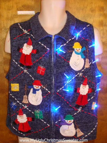 Cute Christmas Sweater Vest with Wizard Santas and Lights