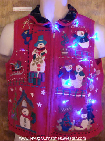 Belly Length Short Cute Christmas Sweater Vest with Lights