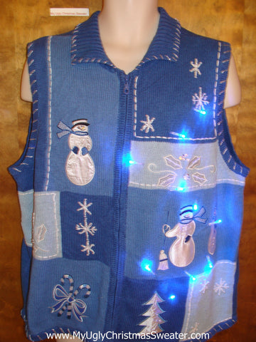 Blue Snowman Cute Christmas Sweater Vest with Lights