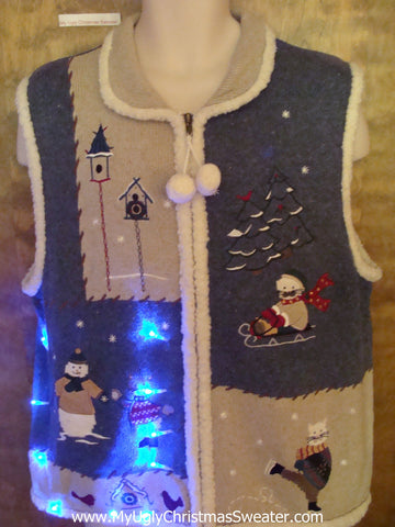 Sporty Cats 2sided Cute Christmas Sweater Vest with Lights