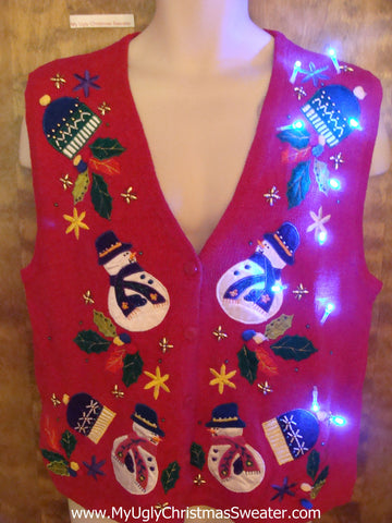 Rolly Polly Snowmen Red Cute Christmas Sweater Vest with Lights