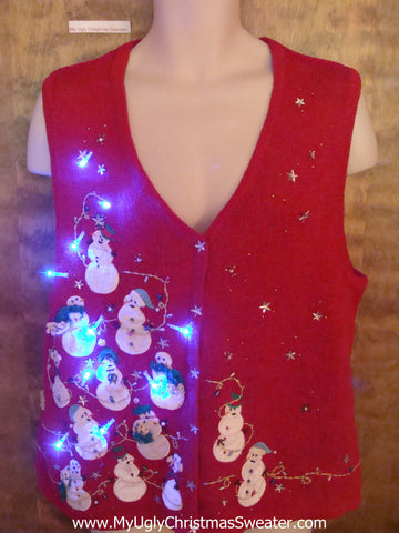 Snowman Pyramid Funny Cute Christmas Sweater Vest with Lights