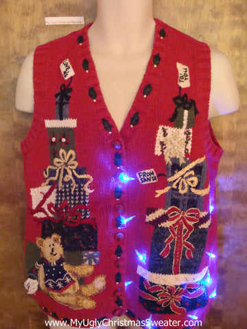 Stacked Gifts and Teddy Bear Cute Christmas Sweater Vest with Lights