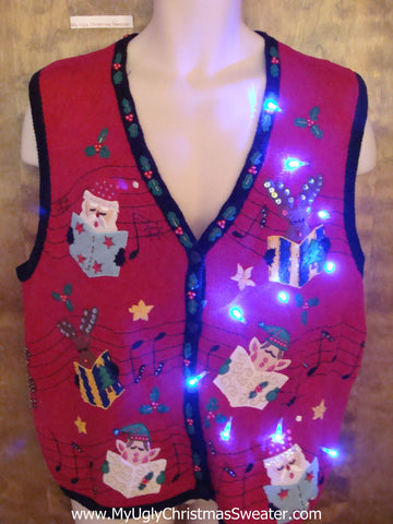 Santa, Reindeer and Elves Singing Cute Christmas Sweater Vest with Lights