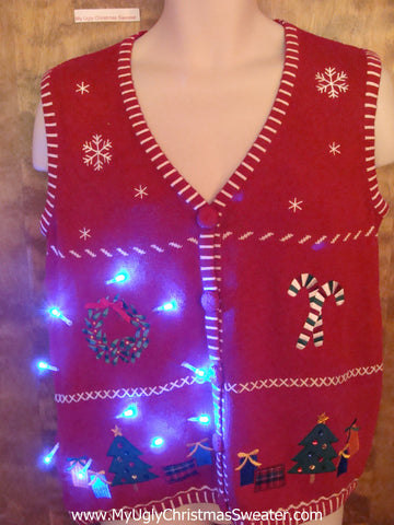 Crafty Embroidered Cute Christmas Sweater Vest with Lights