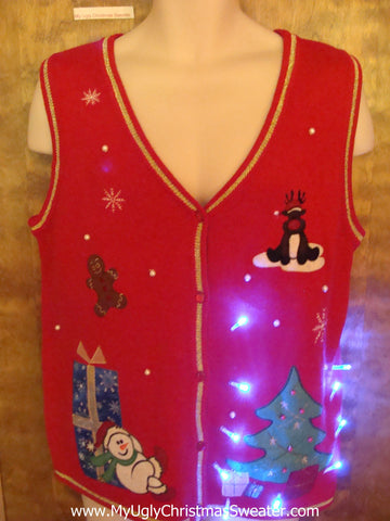 Fesetive Tree Cute Christmas Sweater Vest with Lights