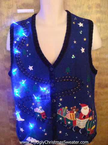 Santas Toy Train Cute Christmas Sweater Vest with Lights