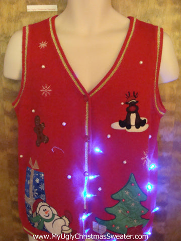 Lit up Tree Cute Christmas Sweater Vest with Lights