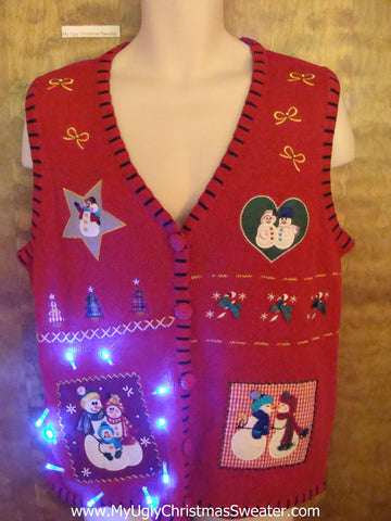 Snowman Lovers Red Cute Christmas Sweater Vest with Lights