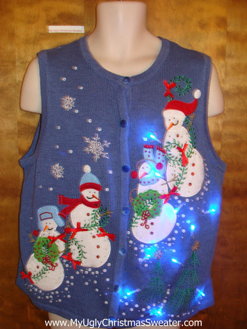 Snowman Party Cute Christmas Sweater Vest with Lights