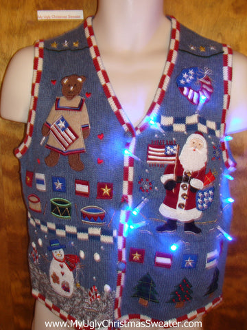 Patriotic Themed Cute Christmas Sweater Vest with Lights