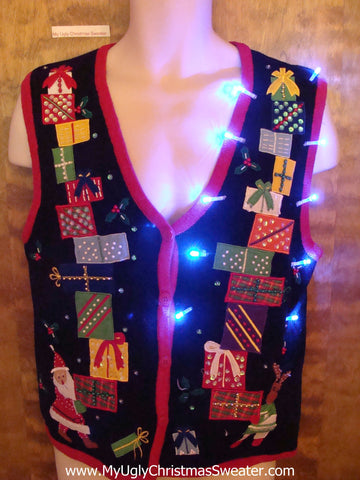 Gift Tricks Cute Christmas Sweater Vest with Lights