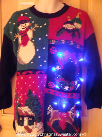 Tacky Colorful Grid Style Xmas Sweater with Lights (g186)