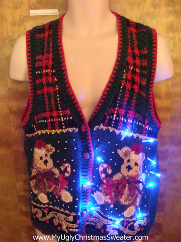 Plaid Vest with Bears Cute Christmas Sweater with Lights