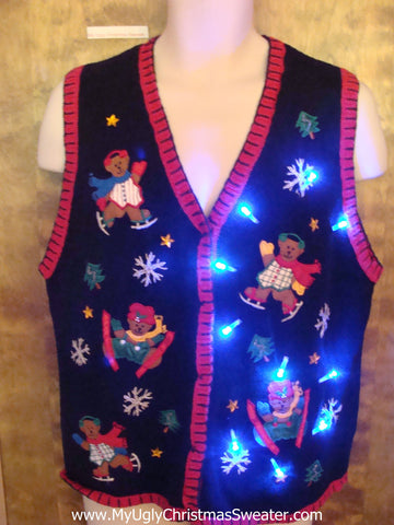 Bears Skating and Skiing Cute Christmas Sweater Vest with Lights