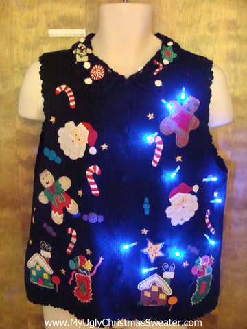 Gingerbread Candy Themed Cute Christmas Sweater Vest with Lights