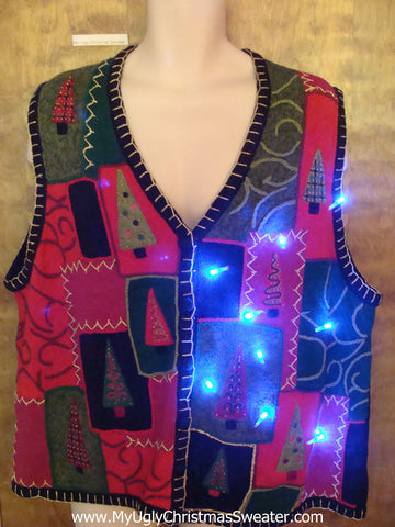 Big Size Tree Themed Cute Christmas Sweater Vest with Lights