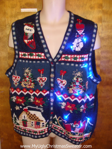 Patriotic 80s Horrible Cute Christmas Sweater Vest with Lights
