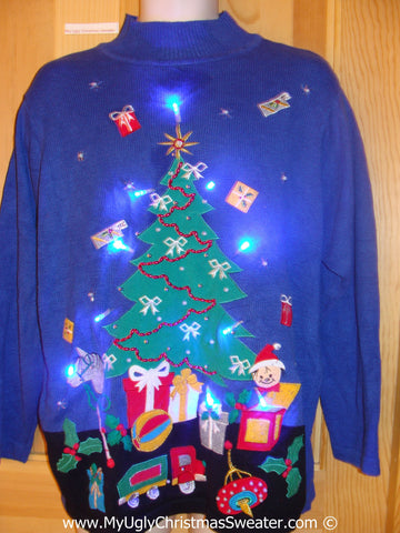 Tacky Blue Xmas Sweater with Lights Huge Tree Toys (g187)