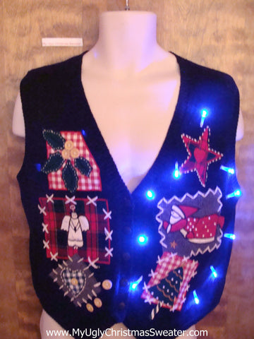 Plaid 80s Themed Cute Christmas Sweater Vest with Lights