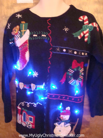 Cute Christmas Sweater with Lights with Candycanes and Stocking