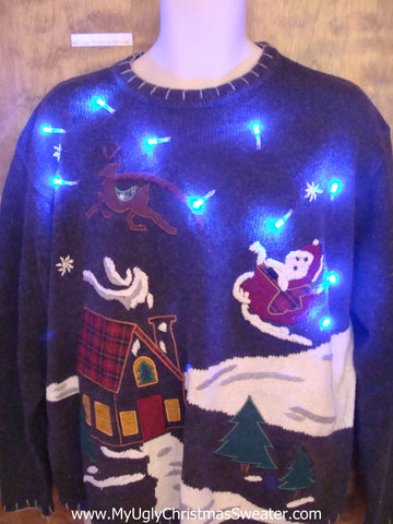 Santa and Reindeer 80s Cute Christmas Sweater with Lights