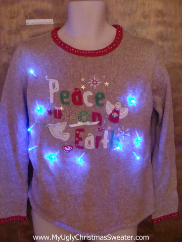PEACE ON EARTH Cute Christmas Sweater with Lights